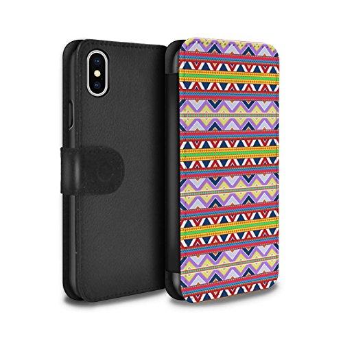 Stuff4 Coque/Etui/Housse Cuir PU Case/Cover pour Apple iPhone X/10 / Vert Design / Motif Tribaux Aztèques Collection Voilet/Rouge