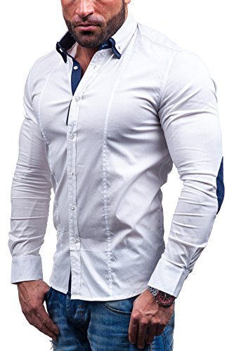 BOLF Langarm Herrenhemd Slim Fit NEW MEN 7187 Weiß
