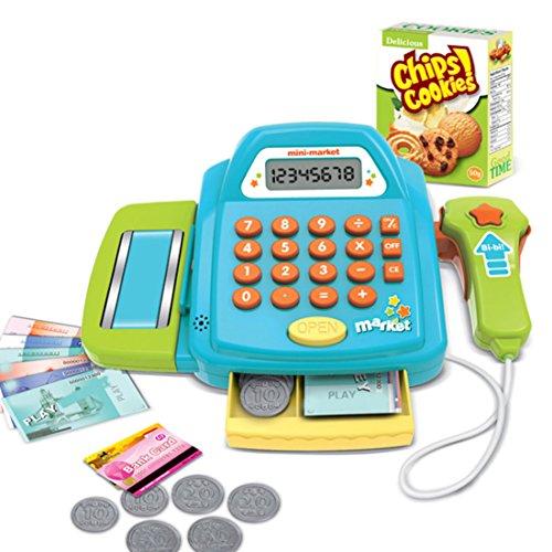 LVPY Kaufladen Set Kasse, Kaufladen Kinder mit Kasse Scanner Spiel Spielzeug Zubehör für Kaufladen Supermarkt für Kinder, Grün