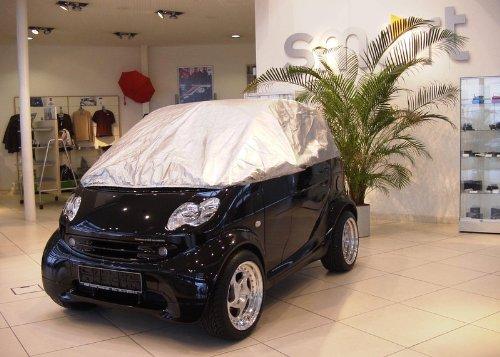 Preisvergleich Produktbild Halbe Autoabdeckung Mini car cover Teilgarage smart fortwo 451 in silber exclusiv aus Tyvek mit Lagerbeutel