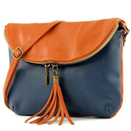 modamoda de - ital. Ledertasche Clutch Umhängetasche Unterarmtasche Klein Nappaleder T07, Präzise Farbe:Dunkelblau/Camel (Handtasche Italienische Leder)