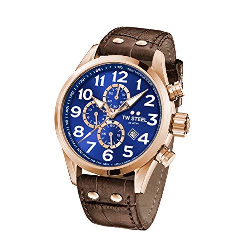 TW Steel Unisex Erwachsene Chronograph Quarz Uhr mit Leder Armband VS83