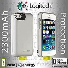Logitech Fall [+] Energie iPhone SE/5/5S 2300mAh wiederaufladbare externe Backup-Batterie Ladegerät Power Bank Fall–in Gunmetal Grau und Aluminium