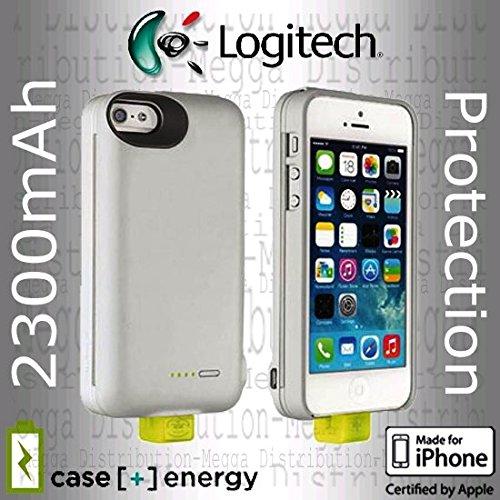 Logitech Fall [+] Energie iPhone SE/5/5S 2300mAh wiederaufladbare externe Backup-Batterie Ladegerät Power Bank Fall–in Gunmetal Grau und Aluminium (Iphone-batterie-ladegerät-fall)