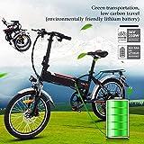 Bunao Bicicleta Eléctrica Plegable con Batería de Litio(36V 8Ah) Desmontable Bicicleta de Montaña de 20 Pulgadas E-Bike...