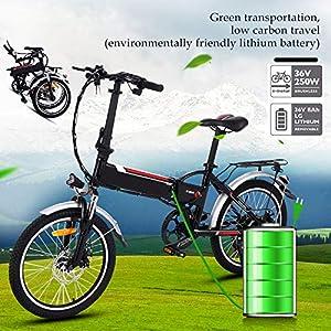 51bDDjhHgYL. SS300 Bunao Bicicletta Elettrica City Bike Pieghevole a Pedalata Assistita, Ruote 20'', velocità 25km/h, Mileage 35-70km, Nero