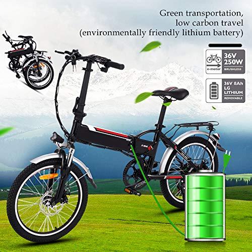 Bunao Bicicleta Eléctrica Plegable con Batería de Litio(36V 8Ah) Desmontable Bicicleta de Montaña de 20 Pulgadas E-Bike Motor 250W Sistema de Transmisión con Linterna y Cargador (20 Pulgadas)