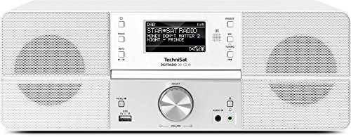 TechniSat Digitradio 361 CD IR Internetradio (WLAN, LAN, DAB+, DAB, UKW, CD-Player, Bluetooth, Radiowecker, Wifi-Streamingfunktion, Multiroom, 2 x 5 Watt Lautsprecherr) weiß (Wecker Wifi Bluetooth)
