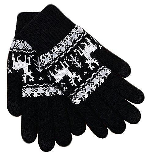 iEverest Unisex Touchscreen Handschuhe Lover Handschuhe Gestrickte Touchscreen Schneeflocken-Handschuhe dicke Handschuhe Smartphone Touchscreen Handschuhe Vollfingerhandschuhe (Schwarz)