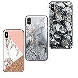 Freessom Lot de 3 Coque iPhone 7 Plus/8 Plus Marbre Rose Gold Noir Triangle Silicone Rigide Bleu Motif Souple Fantaisie Fine Anti Choc Cadeau Pas Cher