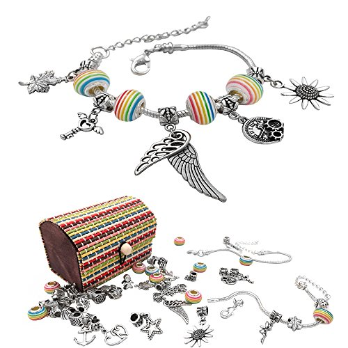 Charm Armband Kit DIY Handwerk Europäische Perle überzogen mit Silber Kette Schmuck Geschenk Set für Mädchen Teens (Teens Schmuck)