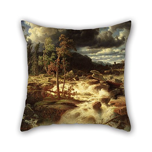 beautifulseason 18 X 18 Inch/45 by 45 Cm Oil Painting Marcus Larson - Waterfall in SmåLand Throw Pillow Case,2 Sides is Fit for Car Seat,Drawing Room,Kids Girls,Divan,GF,Seat