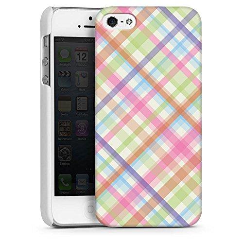 Apple iPhone 5s Housse Étui Protection Coque Pastel carreau couleurs Motif CasDur blanc
