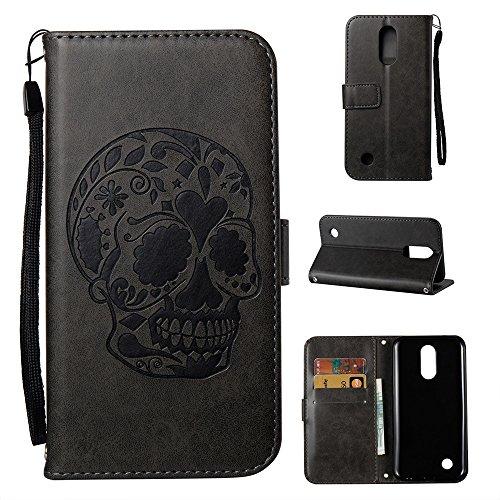 Preisvergleich Produktbild Linvei LG K8 Hülle, LG K8 2017 Handyhülle, Flip Case Cover Schutzhüllen mit Kreditkartenhaltern, Ständer, Magnetverschluss-Schwarz