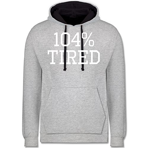 Statement Shirts - 104% tired - Kontrast Hoodie Grau meliert/Dunkelblau