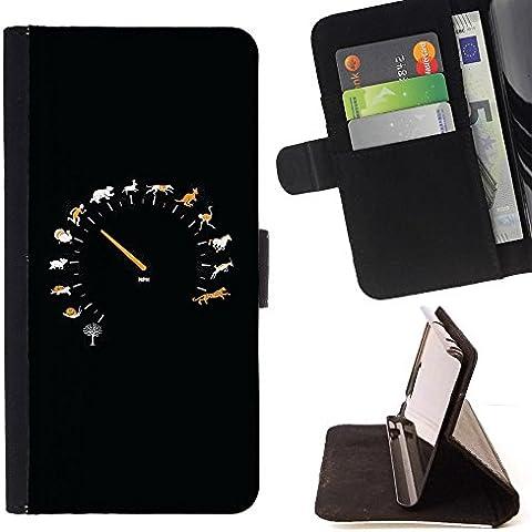 For HTC One Mini 2 M8 MINI Case , Animal velocità Tachimetro - Portafoglio in pelle della Carta di Credito fessure PU Holster Cover in pelle case