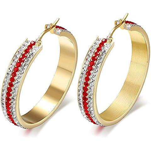 De acero inoxidable de joyería MG 3 fila de color rojo de imitación de cristal grande del aro del pendiente para las mujeres, oro