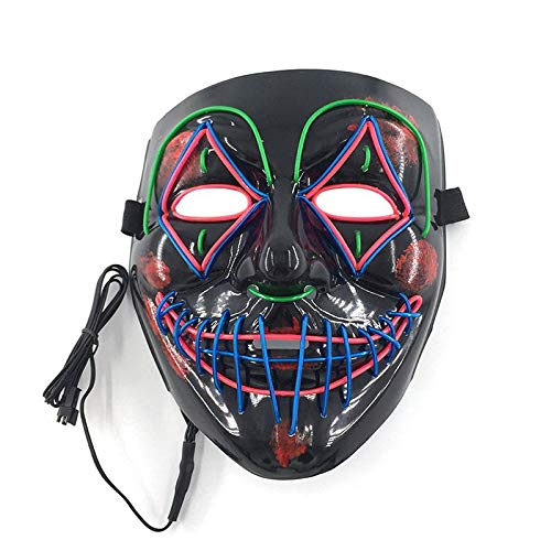 Sexy Kostüm Stadt Party - WSJDE Halloween-Maske mit EL-Draht, für Cosplay-Kostüm, Partys, Kostüm, leuchtende, gruselige Farben