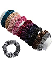 FAMEZA Velvet Elastic Flannelette Hair Bands Scrunchies Ropes for Women (Set of 10 ; Multicolour)