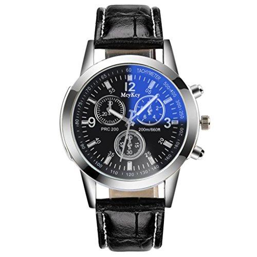 Uhren, Winkey Luxus Casual Quarz Leder Band New Trageriemen Armbanduhr Analog Armbanduhr für Damen und Herren Schwarz