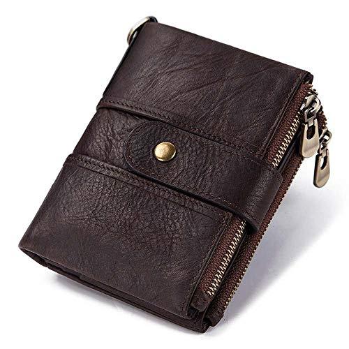 Brieftasche Echtes Leder RFID Brieftasche Männer Crazy Horse Brieftaschen Geldbörse Kurze Männliche Geldbeutel Qualität Designer Mini Brieftasche Kleine, Kaffee-1
