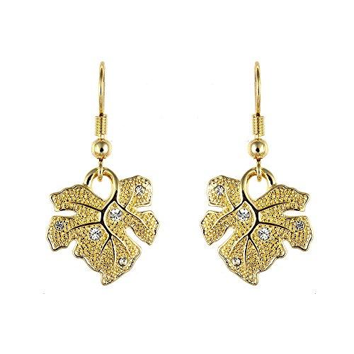 Cristalina Ohrhänger Blumenform Vergoldet Ohrringe Weinblatt Kristall (Edwardian Kostüme Damen)