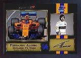 SGH SERVICES Neuf encadrée Fernando Alonso 2018autographe Formule 1Photo dédicacée encadrée Cadre en Panneau MDF Impression Photo