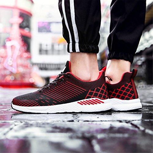 xiduoduo Herren Damen Freizeitschuhe Atmungsaktiv Laufschuhe Turnschuhe Sommer Sportschuhe Sneakers 35-48 Rot1