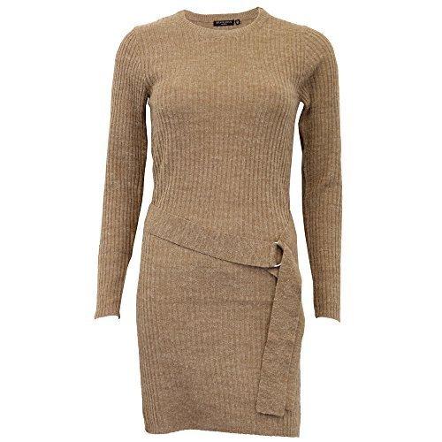femmes pulls Brave Soul femmes tricoté Long Robe côtelé pull ceinture hiver chameau - 249tied