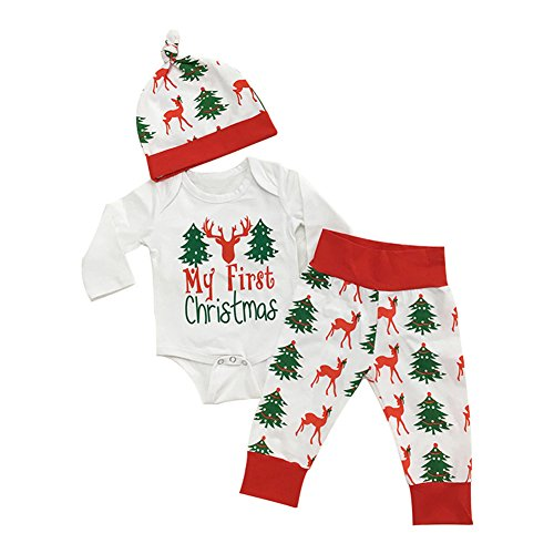 6ce144f15 Hosaire Navidad Bebe Ropa Bebé Niña Niño Monos 'My First Christmas ' +  Pantalones a
