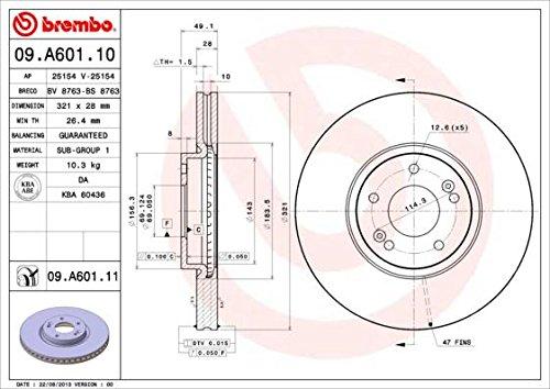 Disque de frein-Brembo 09.a601.10