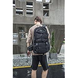 45L Hohe Kapazität Laptop Notebook Rucksack Wasserabweisend Reisen Outdoor Rucksack No.2227 (Schwarz)