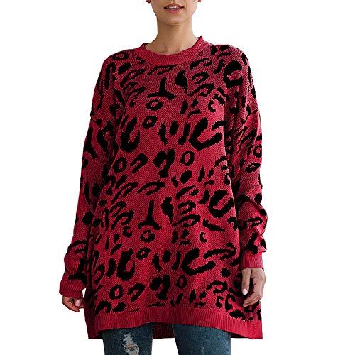 Jersey Largo para Mujer de Oversized Invierno Otoño Leopardo Sudadera Algodón Leopard Manga Larga Cuello Redondo Loose Jersey Jersey Jersey Jersey Jersey Jersey Granate S