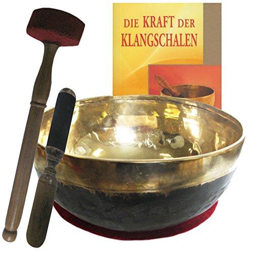 Klangschale Bengali gold-schwarz 4-teiliges Klangmassage-SET mit BUCH | Therapie-Qualität: GROSSE HERZSCHALE dunkler TON | Ca. 1100-1300g ca. 20-22cm Ø #70144 | Mit Kissen, Holz-Leder-Klöppel.