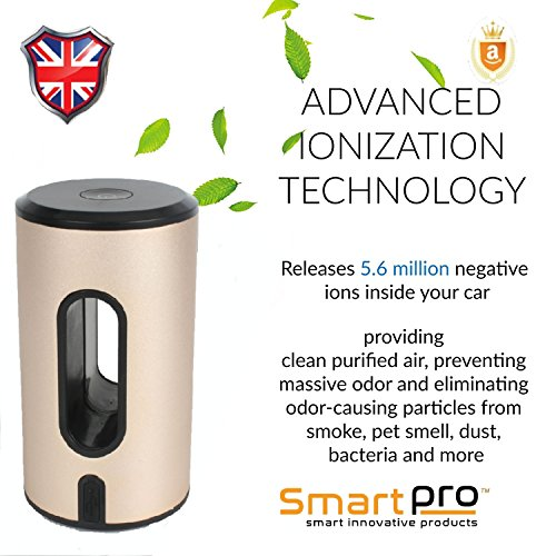 Desodorizador de ionizador SmartPro 2018, purificador de aire, generador de ozono olor, eliminador de olores, polvo, polen, cigarrillos, comida y olor de mascota, bacterias y malos olores.