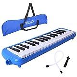 CAHAYA Mélodica 32 Clés Pianica avec embout buccal et flexible en plastique flexible à long tube pour enfants Amateur de musique étudiant bleu