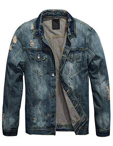 Omoone Herren Truckerjacke mit Kunstfellkragen, Sherpa-Fleece-Futter, Denim-Jacke - Blau - Mittel Junior Fashion Denim Jacke