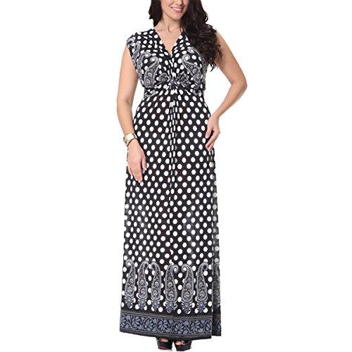 Frauen Plus Size Sleeveless V-Ausschnitt Vintage Polka Dot Beach Swing (Polka Plus Dot Kleid Size)