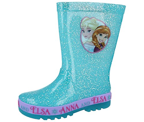 New Girls/Childrens Turquoise Frozen Character PVC Wellington Boots