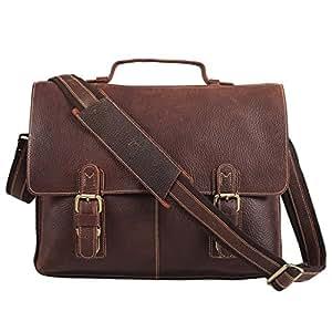 Polare Men's Twin Buckle Genuine Leather Messenger Bag Briefcase
