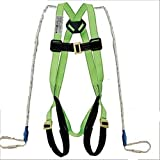 Sai Safety Industrial Fall Protection Climbing, Rocking, Fire Rescue   Full Body Simple Hook Double Rope Saftey Harness ((Color may be Blue or Green)