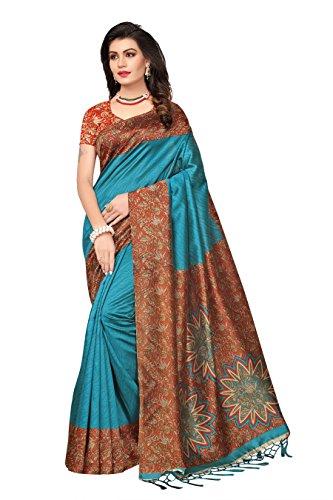 Indira Designer Women's Art Mysore Silk Saree With Blouse (Sky)