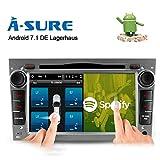 A-SURE Android 7.1 Quad Core Autoradio Multimedia Player unterstützt DAB+ OBD2 4G LTE für Opel Astra Corsa Zafira Vivaro Meriva Vectra mit GPS Navi unterstützt Bluetooth WLAN DAB+ Subwoofer USB MicroSD 7 Zoll OVGSEJ 2-Jahre-Garantie