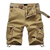Meerway Bermudas Pantalones Cortos de Cargo del estilo bolsillo múltiple Vintage Pantalones Cortos de Trabajo Verano sin correa,caqui