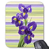 Beautiful Purple Lilac Irises Watercolor Painting Mouse Pad Rectangle Non-Slip Rubber Personalized Mousepad Gaming Mouse Pads