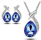 Forma Celebrity Jewellery Royal Blue Water gota cristalinos del perno prisionero del collar de Austria conjunto de joyería