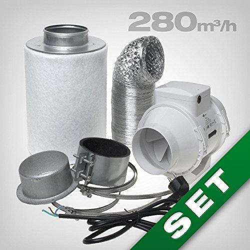 Aktivkohlefilter Abluft Lüftungsset inkl. Rohrventilator 280 m³/h Belüftungsset für Growbox/Homebox