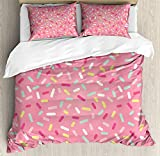 Soefipok Rosa und weiße Bettbezug-Set Twin Size, abstrakte Muster von bunten Donut bestreut süßes leckeres Essen Bäckerei Thema, dekorative 2-teiliges Bettwäscheset mit 1 Kissen-Sham, Mehrfarbig