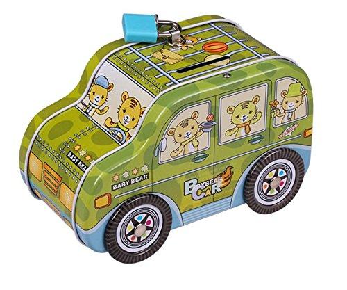 Diversión para Ahorrar Dinero Innovador minibús Piggy Bank Premium Tin Canister (Verde) Regalo Inteligente para niños