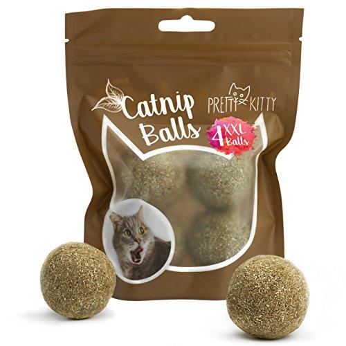 PRETTY KITTY 4x Katzenminze Ball XXL (ø4cm) aus 100{b56da56f6f3352e5be11884689ca5b264233849839915f6115d649194bfa6840} natürlicher Katzenminze als aufregendes Spielzeug für Katzen (4er Pack, 95g)
